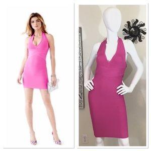 Guess Pink Bodycon Halter Bandage Dress Medium